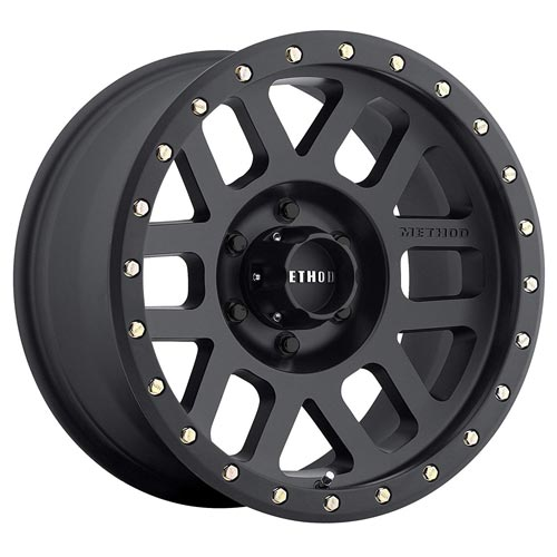 Method Race Wheels Grid Matte Black Wheel with Zinc Plated Accent Bolts