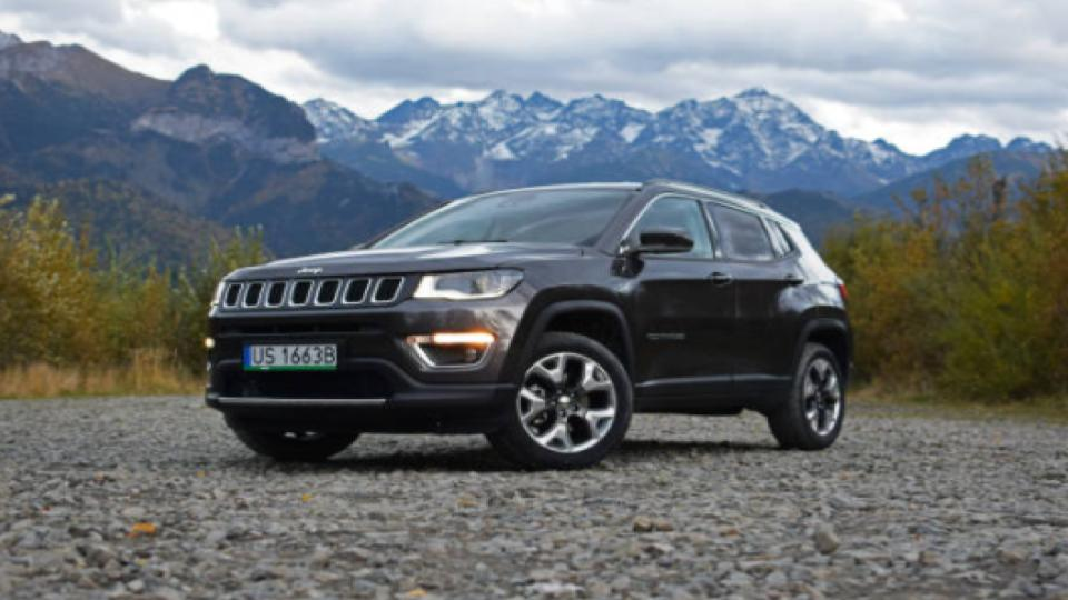 jeep compass with mountain view
